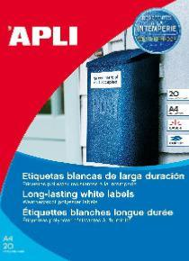 agipa 16923 étiquettes polyester blanches 210x297 mm coins dr.- B. 10 pl. A4